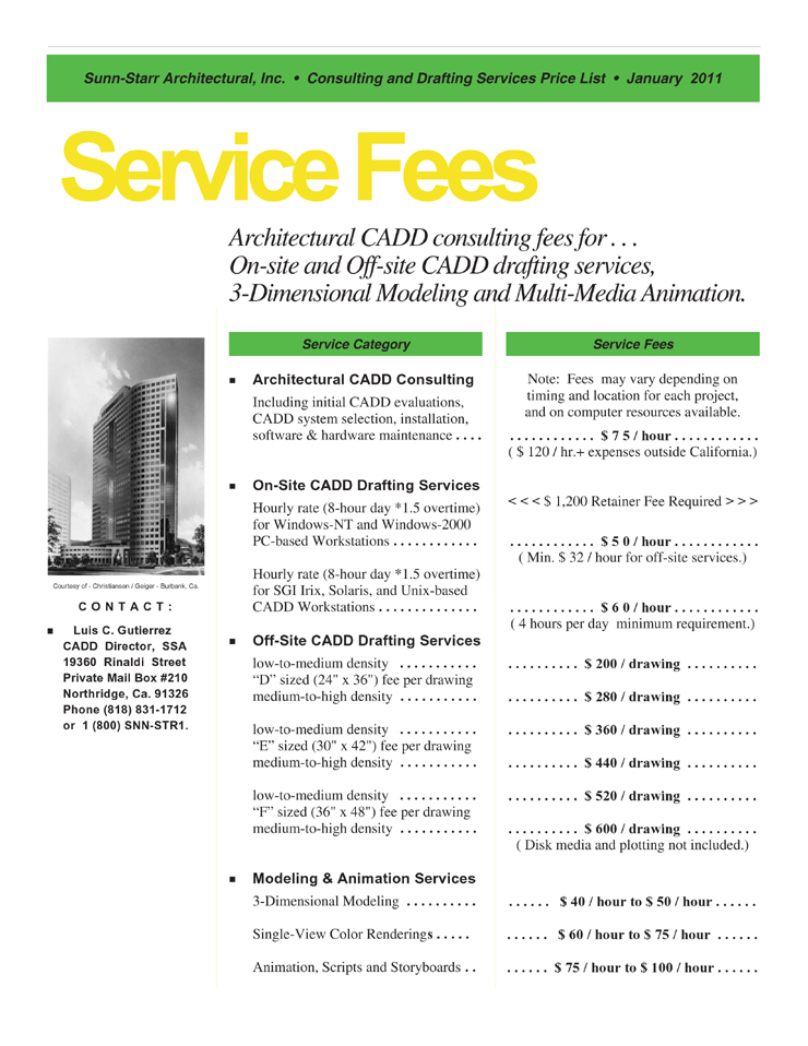 Sunn Starr Architectural Services Price List